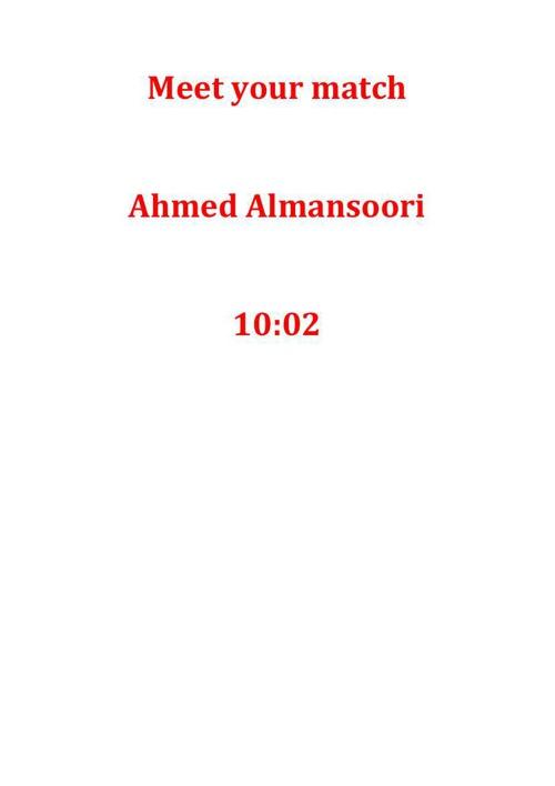 Meet your match ahmed Almansoori