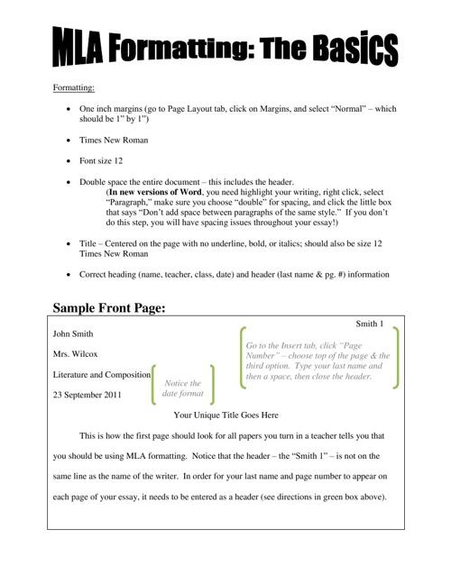 MLA Formatting/Citation Packet