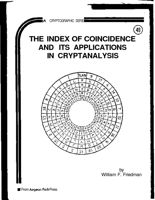 The Index of Coincidence and its Applications in Cryptanalysis