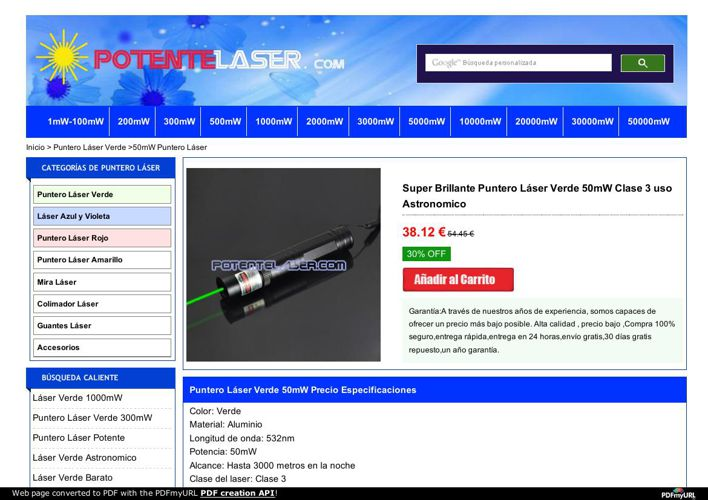 Puntero laser 50mW Barato