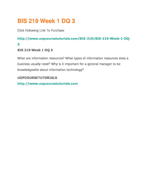 BIS 219 UOP Course Tutorials,BIS 219 Entire Course Materials,BIS