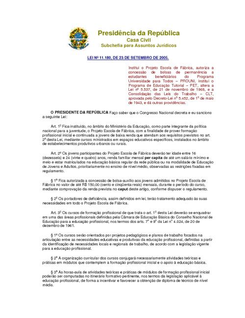 Lei nº 11.180, de 23 de setembro de 2005.