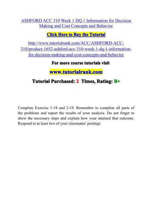 ACC 310 Potential Instructors / tutorialrank.com