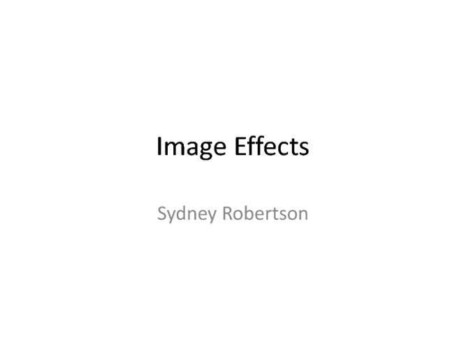 Sydney Robertson Image Effects