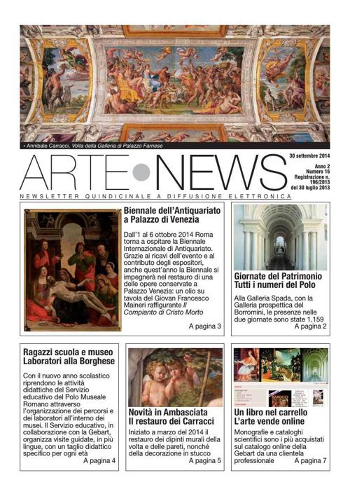 """""""Arte News"""" - 30 settembre 2014"""