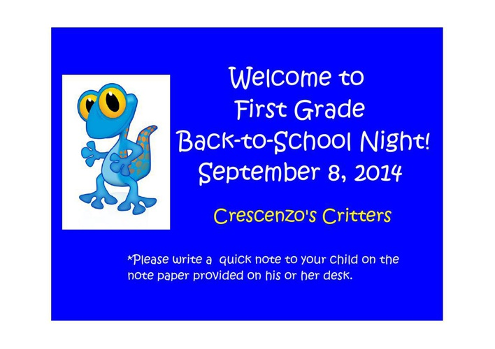 1st - Back to School Night