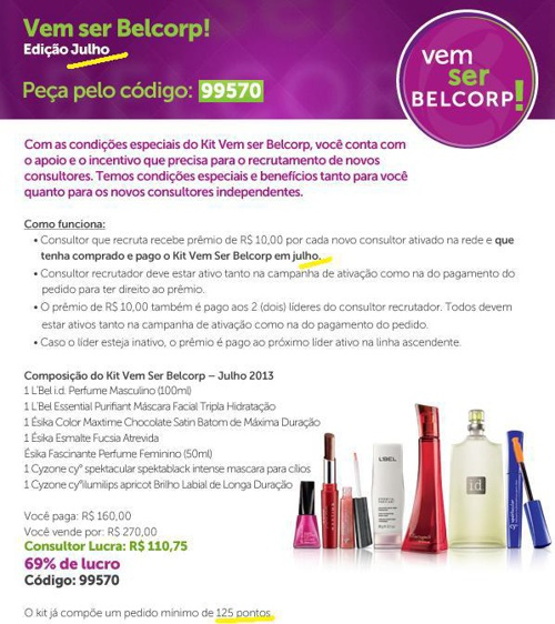 Consultora Belcorp Brasil - Destaues Julho 2013