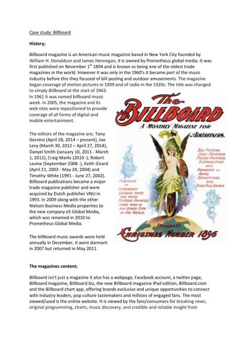 Case Study of 'BILLBOARD' Magazine