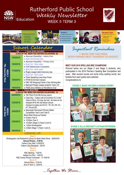 Rutherford Public School Term 3 Week 5 2016 Newsletter