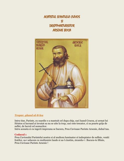 Acatistul Sf. Cuv. Arsenie Boca