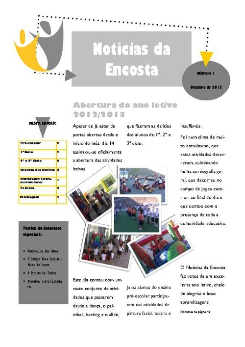 Newsletter Notícias da Encosta Out/2012