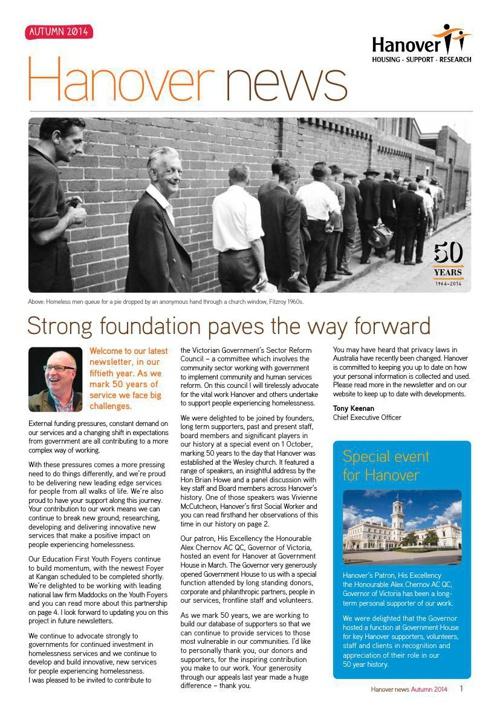 Hanover Newsletter Autumn 2014 WEB1