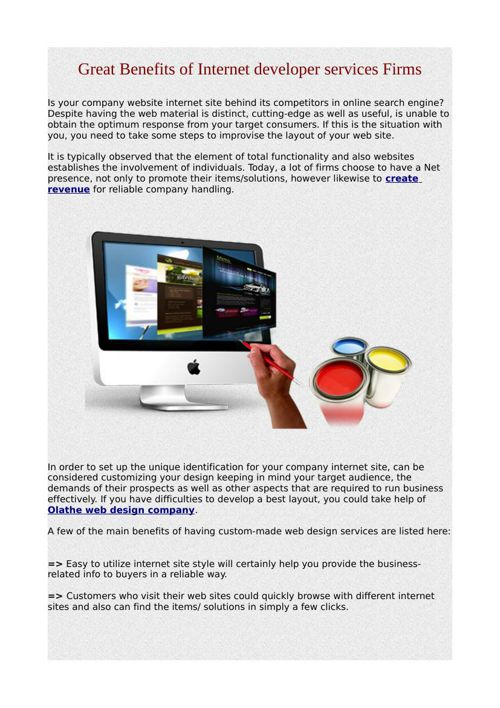 Great Benefits of Internet developer services Firms