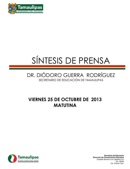 Síntesis Informativa Viernes 25 de Octubre