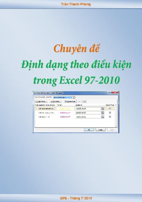 Định dạng có điều kiện trong Excel