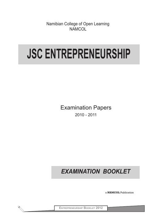 JSC Entrepreneurship Examination Booklet (2007 - 2011)