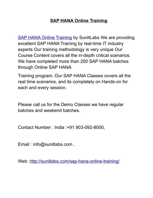 SAP HANA Online Training by Professional Experienced Trainers in