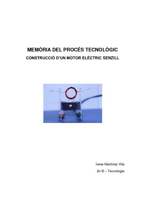 Memòria del procés tecnològic construcció d'un motor elèctric