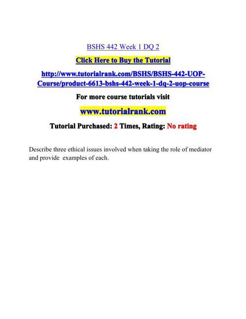 BSHS 442 Potential Instructors / tutorialrank.com