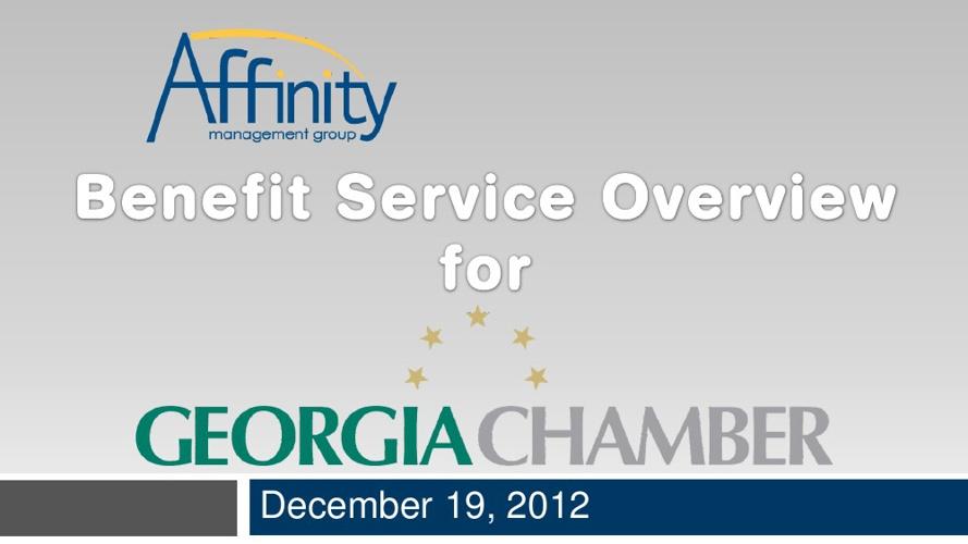 GA Chamber-Affinity Management Benefit Program Overview