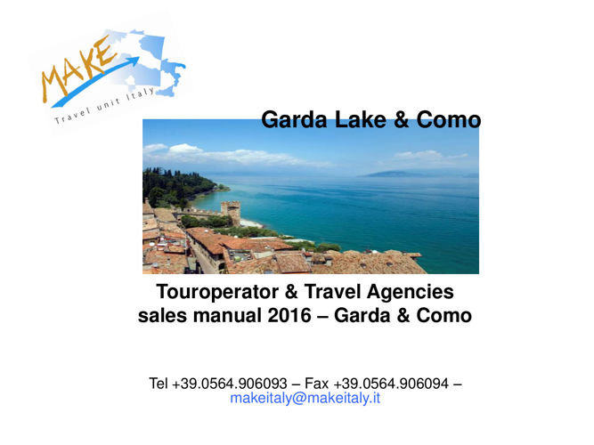 TO & Travel Agencies sales manual Garda  & Como