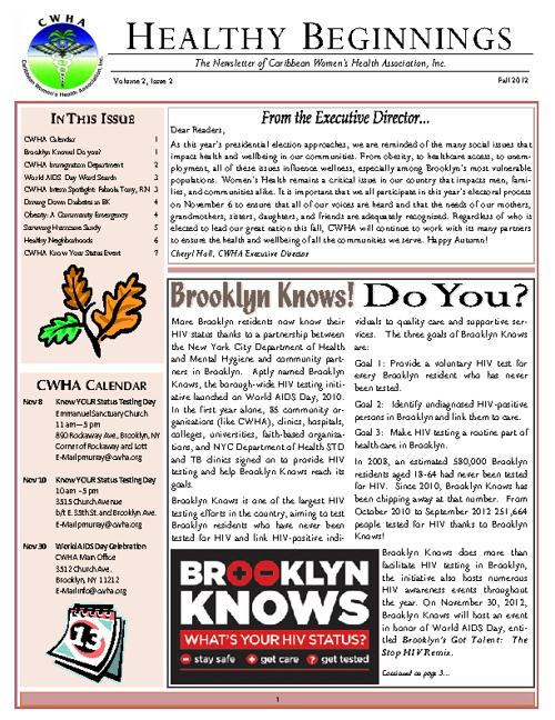 CWHA Newsletter -  Fall 2012