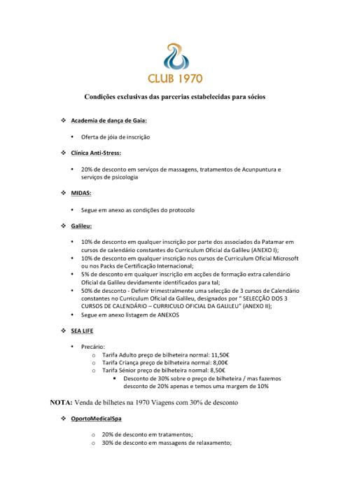 Lista de Parceiros CLUBE 1970