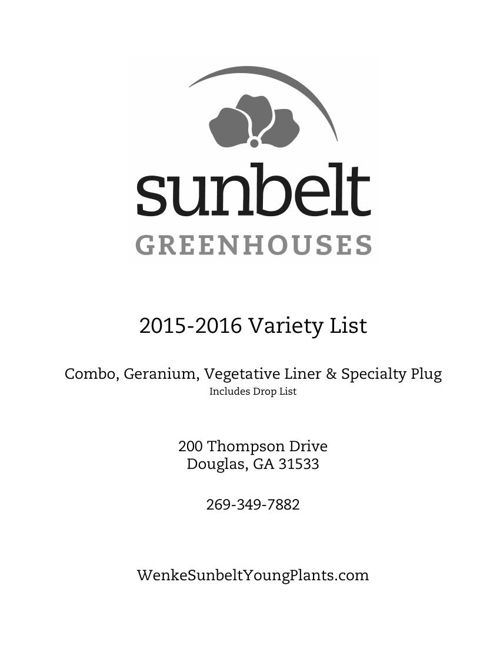 Copy of Sunbelt Greenhouses 2015-2016 Young Plants Variety List