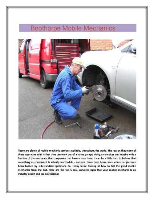 Boothorpe Mobile Mechanics