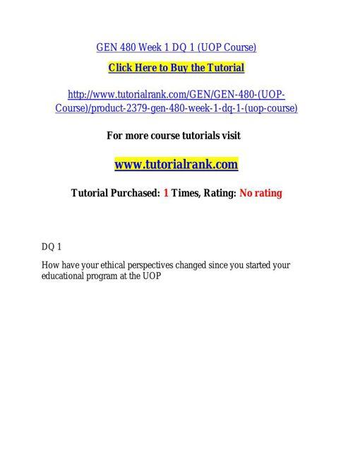 GEN 480 learning consultant / tutorialrank.com