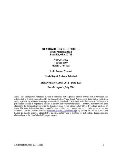 MHS Handbook 2014-15