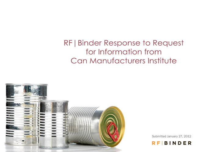 RF}Binder Response to Can Manufacturers Institute RFI