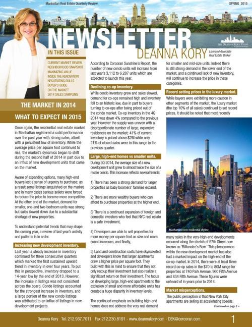 The Deanna Kory Newsletter - Spring 2015