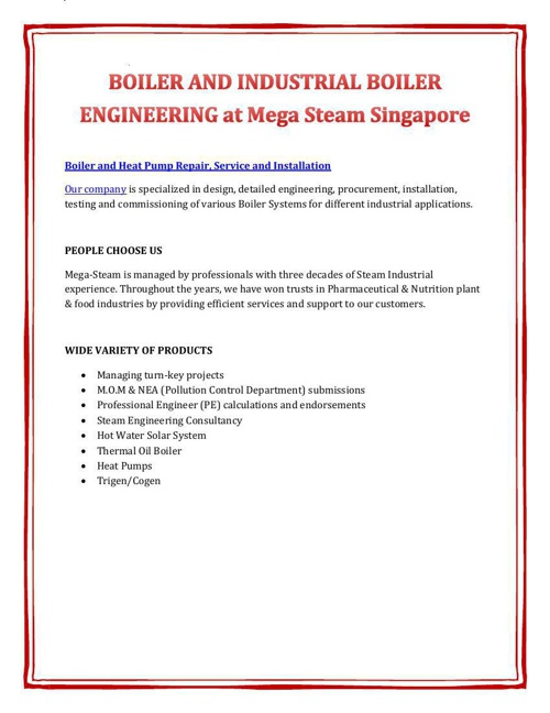 BOILER AND INDUSTRIAL BOILER ENGINEERING at Mega Steam Singapore