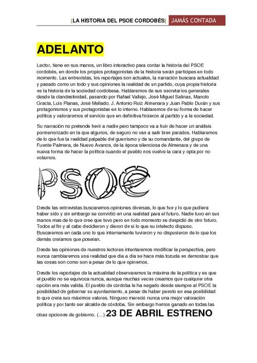 ADELANTO - LA HISTORIA DEL PSOE CORDOBÉS JAMÁS CONTADA