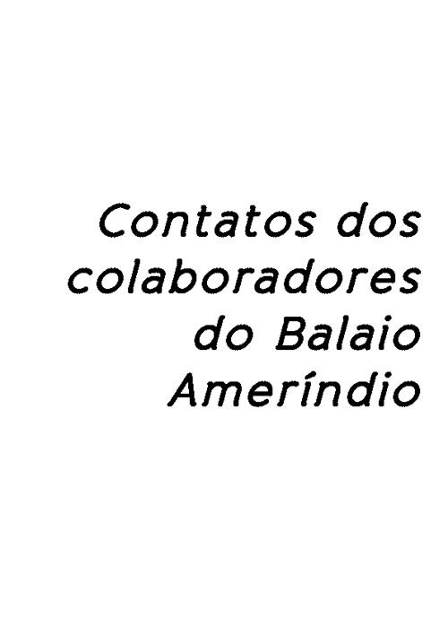 Contatos dos colaboradores do Balaio Ameríndio