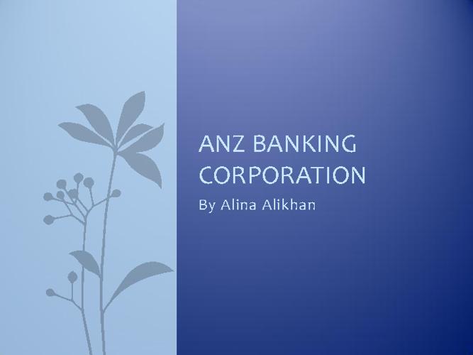 ANZ Banking Corporation