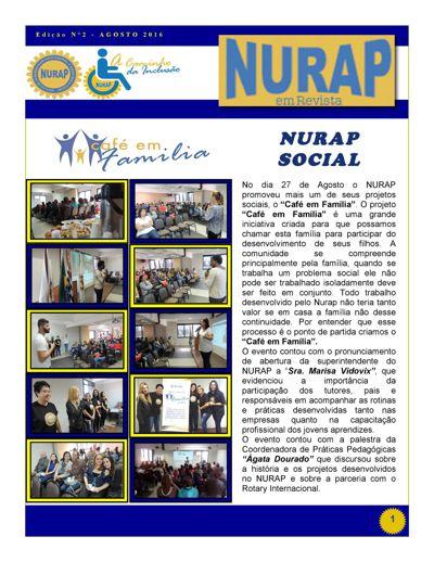 """""""NURAP em Revista""""  2º Edição de Agosto 2016"""