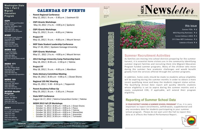 Spring Newsline 2012