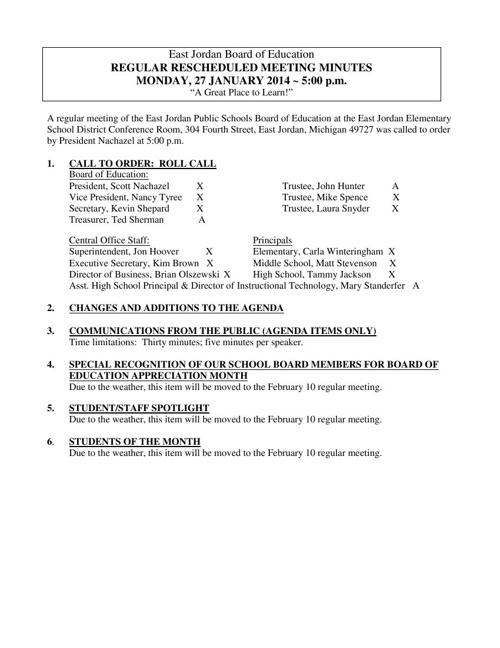 February 10, 2014 Board Meeting