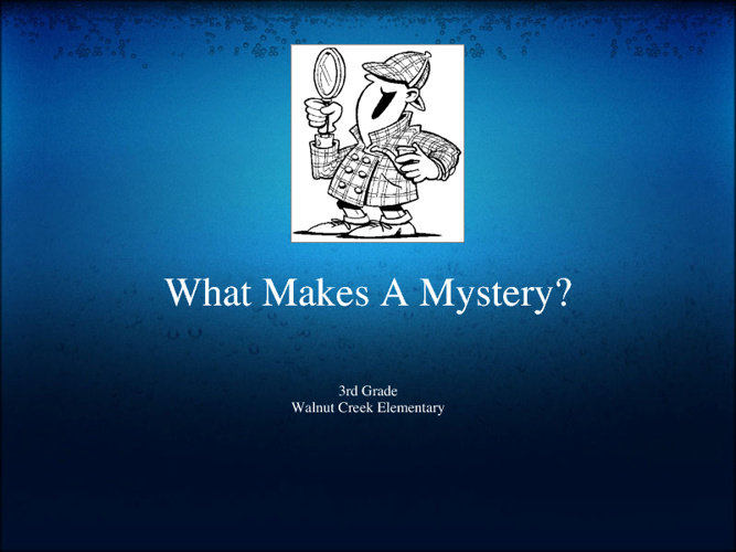 What Makes a Mystery?