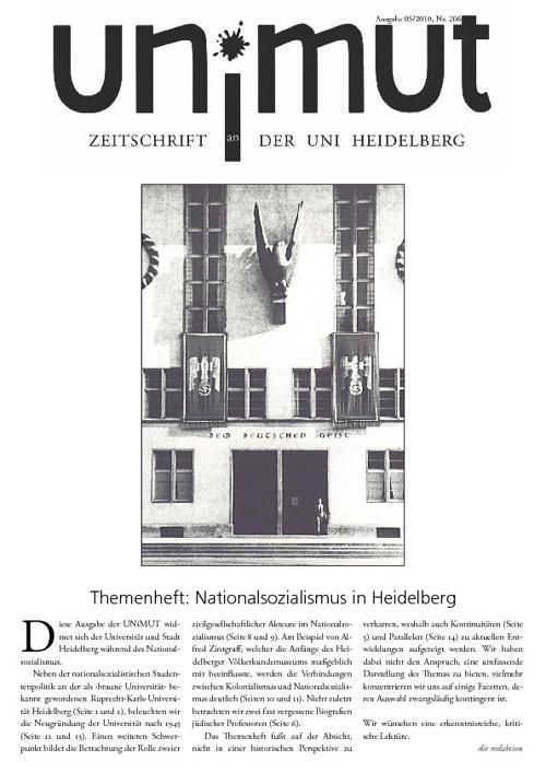un!mut Nr. 206: Themenheft: Nationalsozialismus in Heidelberg