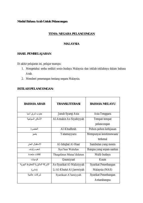 اللغة العربية لأغراض سياحية