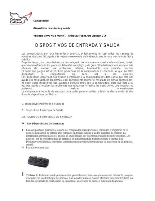 DISPOSITIVOS DE ENTRADA DE SALIDA