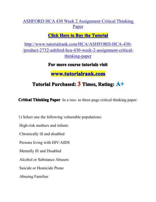 HCA 430 Potential Instructors / tutorialrank.com