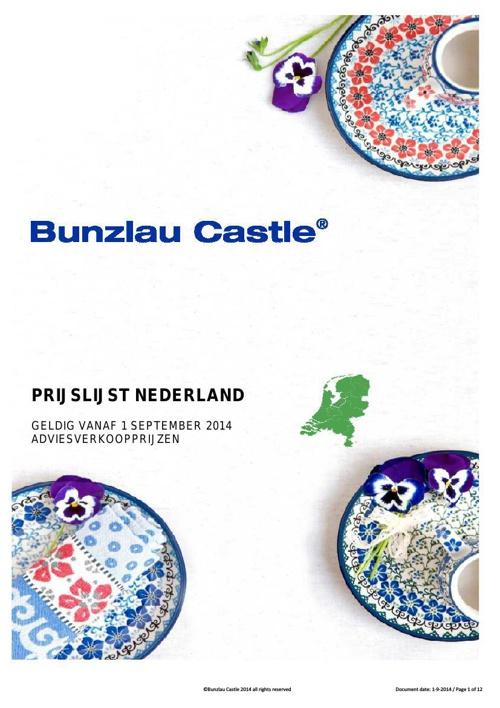 Bunzlau prijslijst sept 2014