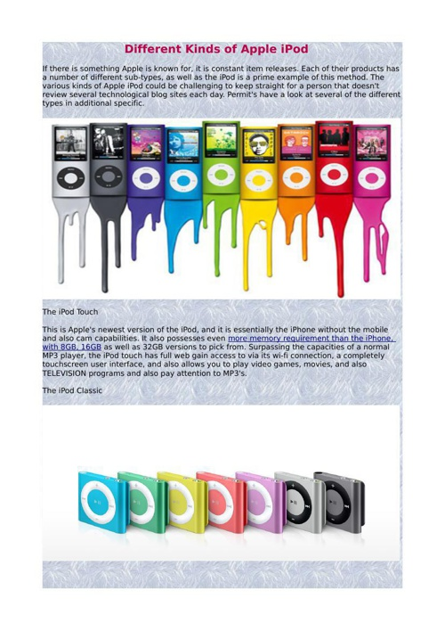 Different Kinds of Apple iPod