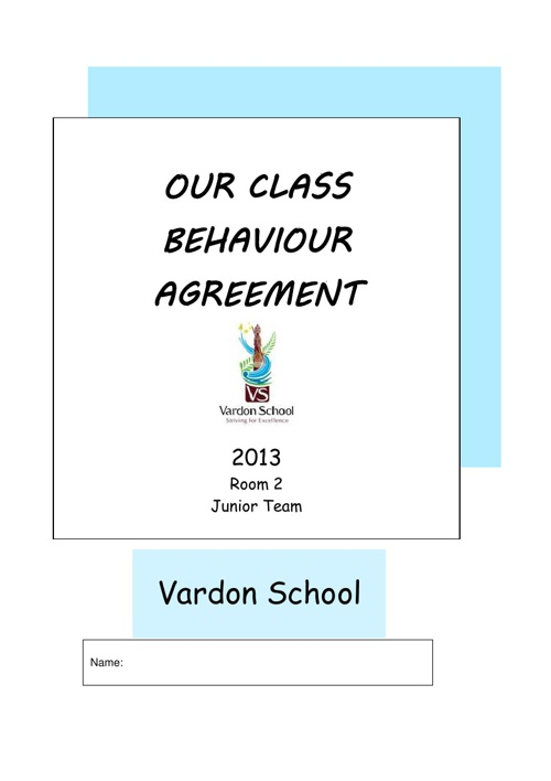 Vardon School Junior Team Behaviour Book