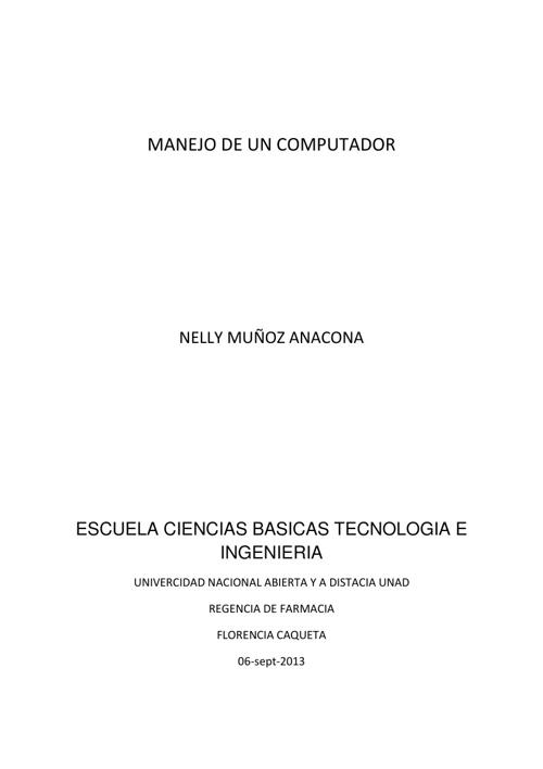 MANEJO DEL COMPUADOR