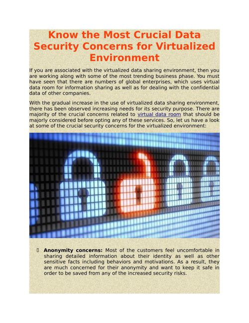 Know the Most Crucial Data Security Concerns for Virtualized Env